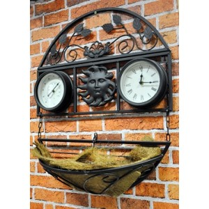 Decorative Planter with Clock and Thermometer