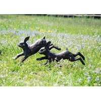 Running Rabbits Bronze Statue